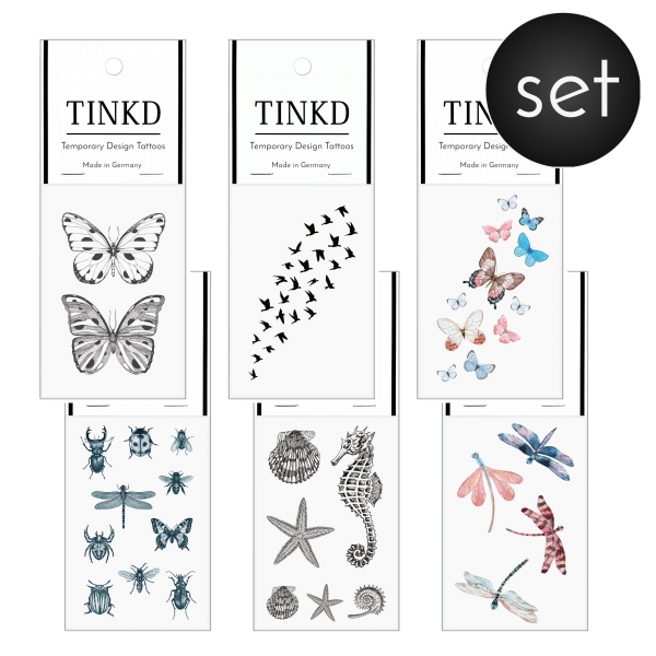 Temporary Tattoo Set Small Animals schmetterling libelle kaefer käfer voegel vögel fliege spinne ameise TINKD 1