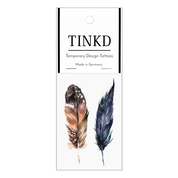Federn Tattoo Temporäres Tattoo Watercolor Feathers watercolor aquarell feder federn TINKD 1